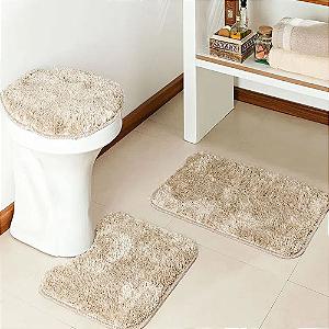 Jogo de banheiro 3 peças Bege Prata Têxtil