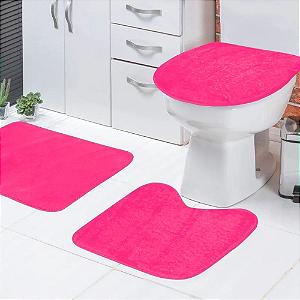Jogo de Banheiro 3 peças Rosa Tapetes Galdino