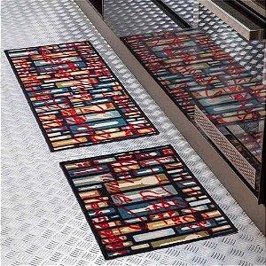 Jogo de tapetes Cozinha 2 peças Color Art Bistrô Talheres Corttex