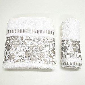 Jogo de Toalhas Banho e Rosto 2 Peças Florido Branco Caviquioli