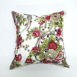 Kit Almofada Com Enchimento 45 x 45 cm Flores Rosa Bellestar