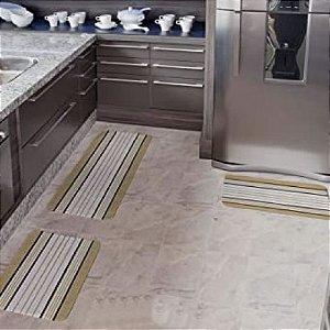 Kit Tapete Cozinha 3 Peças Emborrachamento Antiderrapante Bege Arte Cazza
