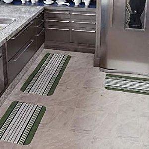 Kit Tapete Cozinha 3 Peças Emborrachamento Antiderrapante Verde Arte Cazza