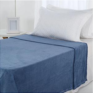 Manta Microfibra 1,50 x 2,00 Solteiro Fleece Azul Claro Andreza