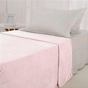 Manta Microfibra 1,50 x 2,00 Solteiro Fleece Rosa Claro Andreza