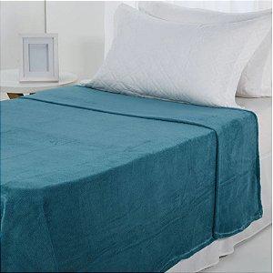 Manta Microfibra 1,50 x 2,00 Solteiro Fleece Turquesa Andreza