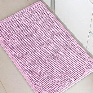 Tapete Banheiro 40 x 60 cm Dallas Microfibra Rosa Corttex