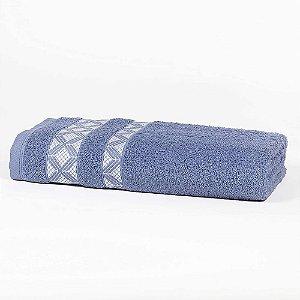 Toalha Banho 70 x 135 cm Prata 100% Algodão Diamond Azul Santista