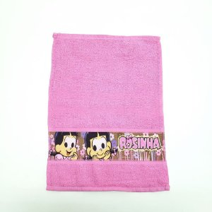 Toalha de Lavabo Infantil 30 x 45 cm Turma da Mônica Rosa Santa joana têxtil
