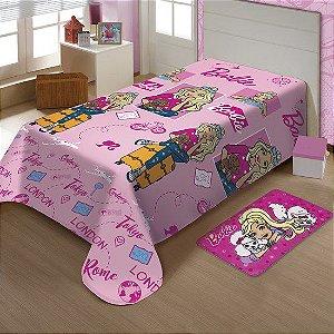 Manta de Microfibra Soft Barbie Solteiro Jolitex ( Rosa )