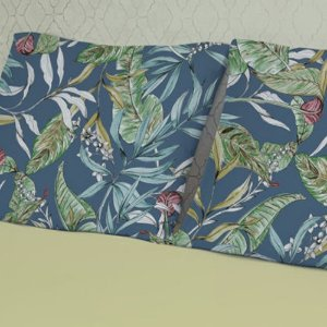 Jogo Casal em Malha 3 Peças - Plantas Azul e Amarelo