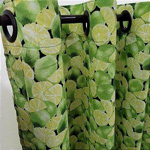 Cortina com ilhós 2,00 x 1,30m Cozinha Limão Verde Bellestar