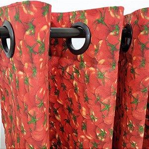 Cortina com ilhós 2,00 x 1,30m Cozinh Tomate Vermelho Bellestar
