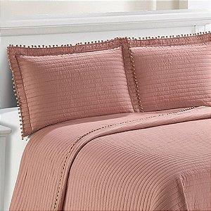 Colcha Pompom King Rose Com 2 Porta Travesseiros - Camesa