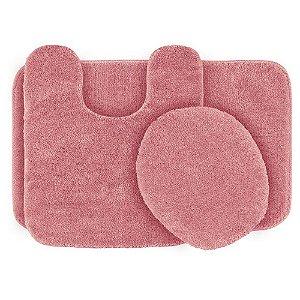 Jogo De Tapete Para Banheiro Ornare Com 3 Peças Rosa