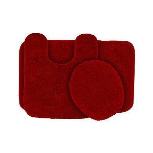 Jogo De Tapete Para Banheiro Ornare Com 3 Peças Vermelho