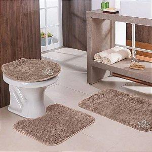 Jogo de Banheiro 3 peças Bege Escuro Tapetes Galdino
