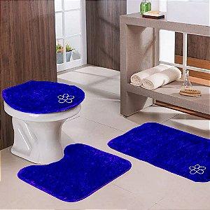 Jogo de Banheiro 3 Peças Azul Escuro Tapetes Galdino