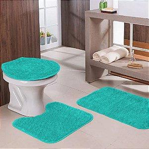 Jogo de Banheiro 3 Peças Verde Miami Tapetes Galdino