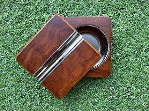 Cinzeiro Para Charuto De Madeira e Inox - Wood