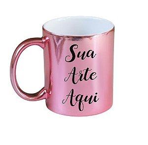 Caneca Rosa Espelhada Personalizada Com Sua Arte