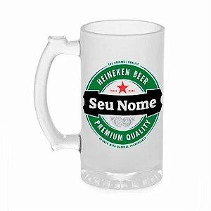 Caneca de Chopp de Vidro Transparente Heineken Com Seu Nome