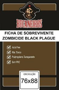 Sleeves Customizados Bucaneiros: Fichas de Sobreviventes Zombicide Black Plague 76 x 88 mm