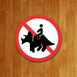 Placa Decorativa: Proibido Subir no Triceratops