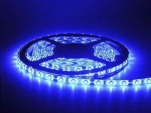 Fita LED 3528 Azul em rolo adesivo com 5 metros Flexível IP65 Siliconada