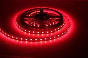 Fita LED 3528 Vermelha em rolo adesivo com 5 metros 12V Flexível IP65 Siliconada