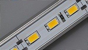Barra Régua LED com 72 Leds rígida placa com 1 metro e calha de alumínio Luz Branco Frio 6000K