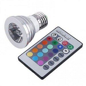 Lampada de LED 3W RGB Bivolt Cores Controle Brinde Adaptador para Tomada
