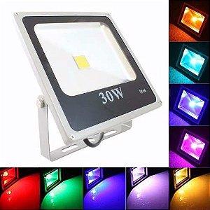 Refletor Led 30w RGB 16 cores com controle remoto
