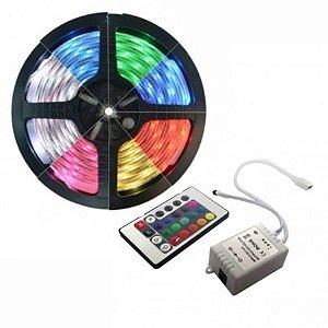 Fita LED 5050 RGB 16 cores com controle remoto rolo com 5 metros Siliconada 12V