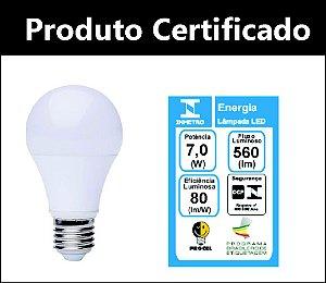 Lâmpada Led Bulbo 7w  A60 E27 - Bivolt - Branco Quente 3000 K (Luz Amarela) Certificada Inmetro