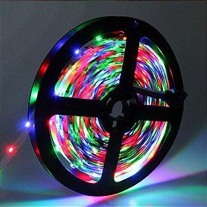 Fita LED 3528 RGB com controle remoto rolo com 5 metros Siliconada 12V