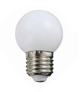 Lâmpada Decorativa Mini Bulbo Bolinha LED 1W E27 127V Branco Quente