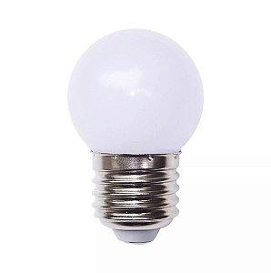 Lâmpada Decorativa Mini Bulbo Bolinha LED 1W E27 127V Branco Frio