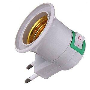 Adaptador Soquete para Lâmpada E-27 com Tomada Plug Bipino