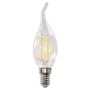 Lâmpada LED Filamento Vela Chama com Bico Torto 4W E14 2700K Branco Quente Bivolt