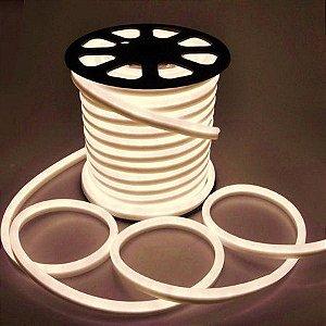 Mangueira led neon flex branco quente 127v ip66 rolo 50m