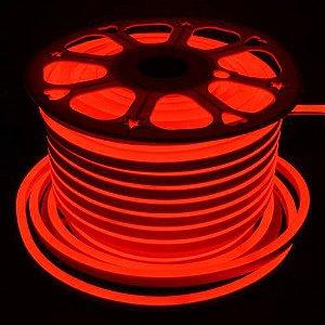 Mangueira led neon flex vermelho 127v ip66 rolo 50m