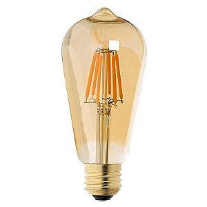 Lâmpada Filamento Retrô LED ST64 3,2W E-27 Thomas Edison âmbar 2300K Bivolt