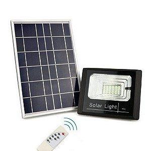 Kit Refletor Solar LED SMD 60W 6500K com controle Branco Frio Bivolt