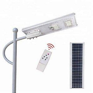 Luminária Publica 100W com placa solar integrada sensor de presença e controle remoto 6500K Bivolt