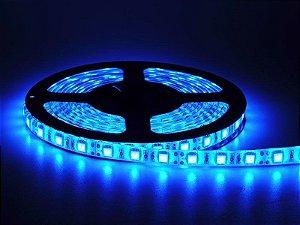 Fita LED Azul 5050 5 mts com fita adesiva 12V - Siliconada Flexível