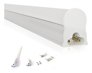 Lâmpada LED Tubular T5 com calha 60cm 10W Branco Frio 6000K Bivolt