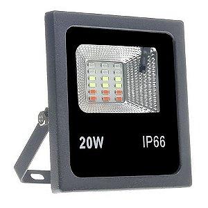Refletor Microled SMD 20W Bivolt IP 66 RGB 16 Cores com Controle Remoto