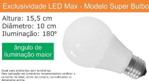 Lampada Led Super Bulbo 12w - Bivolt - Branco Frio 6000 K (Bulbo Grande) (Luz Branca)