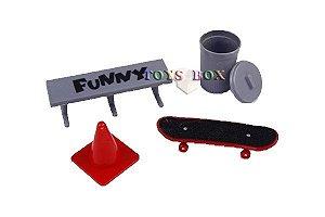 Skate de dedo, cone, banco e lixo